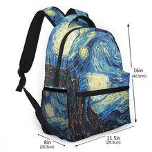 Marka Van Gogh seyahat sırt çantası yıldızlı gökyüzü sırt çantası kadın çocuk okul çantaları genç erkek kız öğrencileri Laptop çantası Mochila Escolar