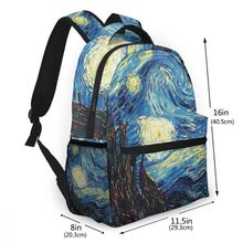 ブランドゴッホ旅行バックパック星空デイパック女性の子供のランドセルティーン少年少女学生のラップトップバッグ mochila アブラソコムツ
