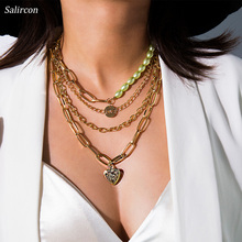 Salircon Charm Choker Necklace Lucky Alloy Imitation Pearls Emerging Pendant Geometric Irregular Retro September New