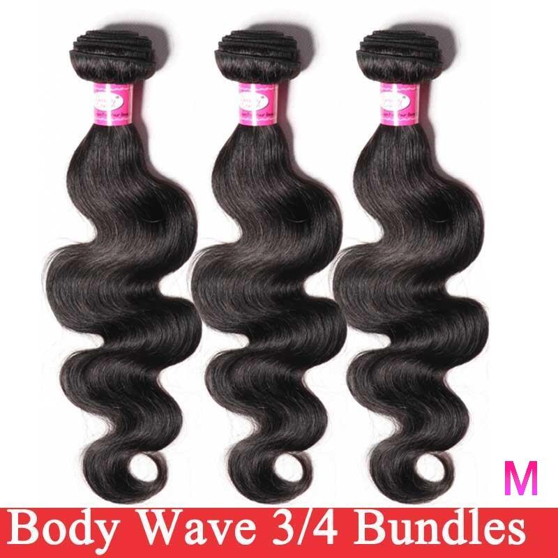 Extensiones de cabello humano con ondas corporales, extensiones de pelo ondulado brasileño negro Natural, 1/3/4 piezas, 8-26