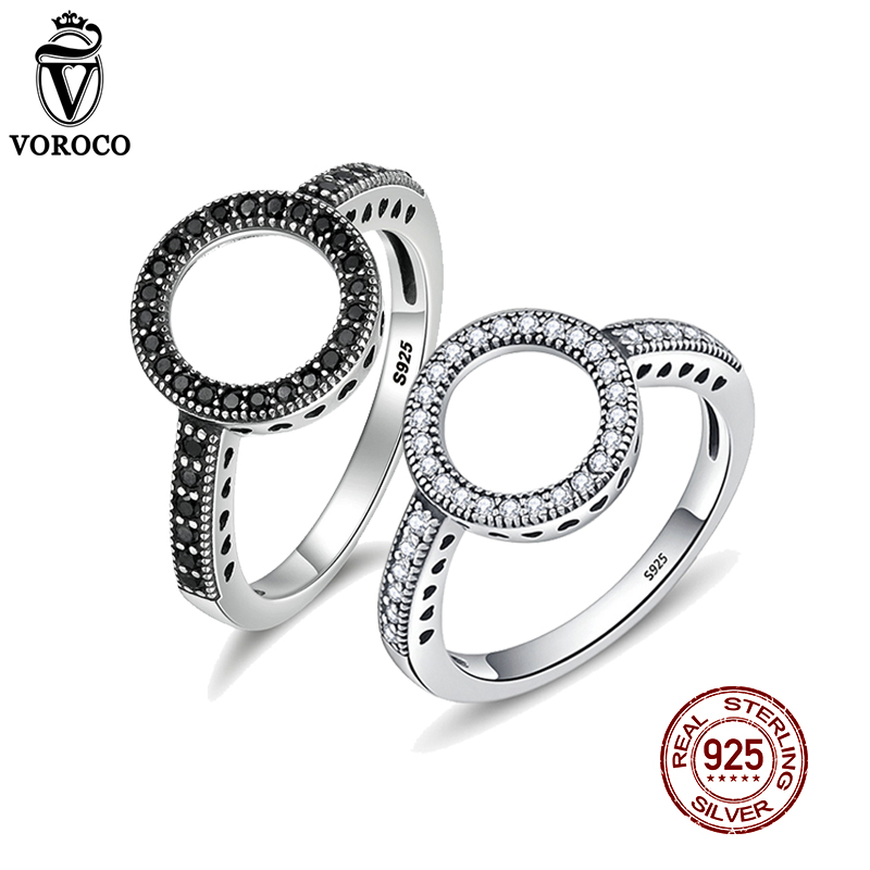 VOROCO Genuine 100% 925 Sterling Silver Ring CZ Circle Round Finger Rings For Women Fine Jewelry Party Gift Anillos BKR041