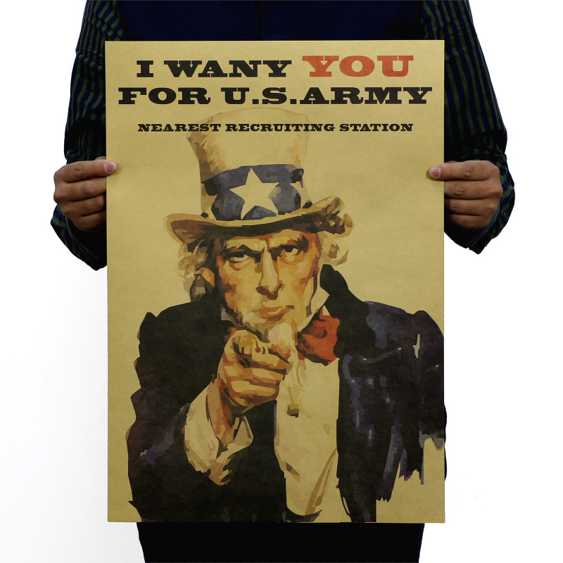 I Want You For U.S. Army Vintage Kraft Paper Classic Poster Map School Wall Office Decoration  Art  Retro Prints