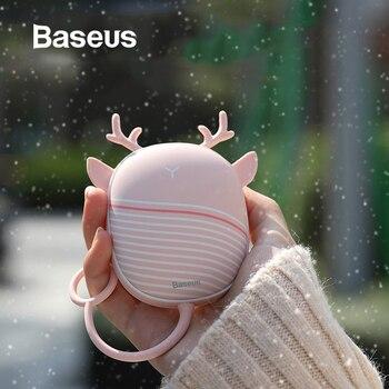 Baseus aquecedor de mão mais quente almofada de aquecimento usb recarregável acessível aquecedor bolso mini dos desenhos animados aquecedor elétrico quente com lâmpada