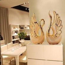 Thinkeasy 2 pçs/set amantes cisne decoração de casa artesanato cerâmica porcelana estatuetas animais decoração casamento amantes do ano novo presente