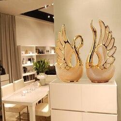 THINKEASY 2PCS/SET Swan Lovers Home Decor Ceramic Crafts Porcelain Animal Figurines Wedding Decoration Lovers New Year Gift