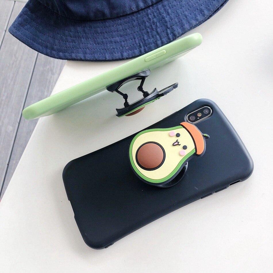 Universal Foldable Bracket Holder for IPhone 7 8 Plus X 11 Pro Samsung Huawei Xiaomi OPPO VIVO Cute Cartoon Folding Ring Holder
