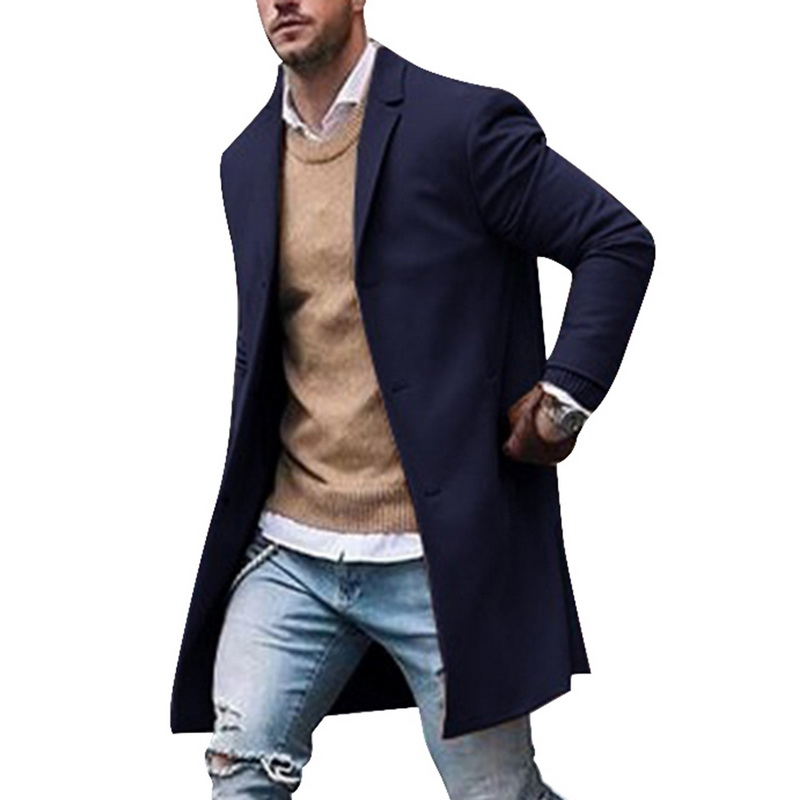 Coat Wool-Jackets Winter Long Cotton Mens Casual Slim Collar High-Quality