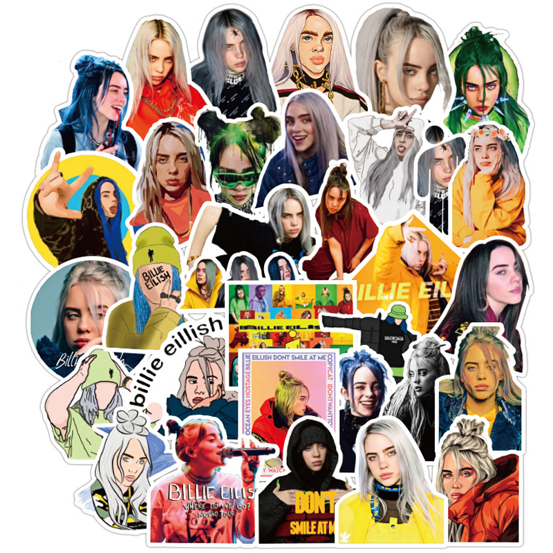 50PCS Pack New Billie Eilish Stickers Decal Waterproof For On Suitcase DIY Laptop Guitar Skateboard Lovely Singer Sticker F5