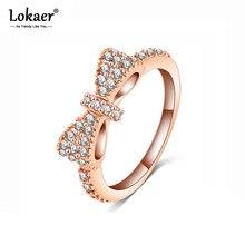 Lokaer Classic Lovely Bowknot Rings For Women Luxury Mosaic Rhinestone Crystal Engagement Wedding Rings Jewelry Anel CRI0143