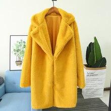 Новинка, модное женское пальто из искусственного меха, воротник-стойка, искусственный кроличий мех, 6 цветов, S-4XL, закрытая пуговица