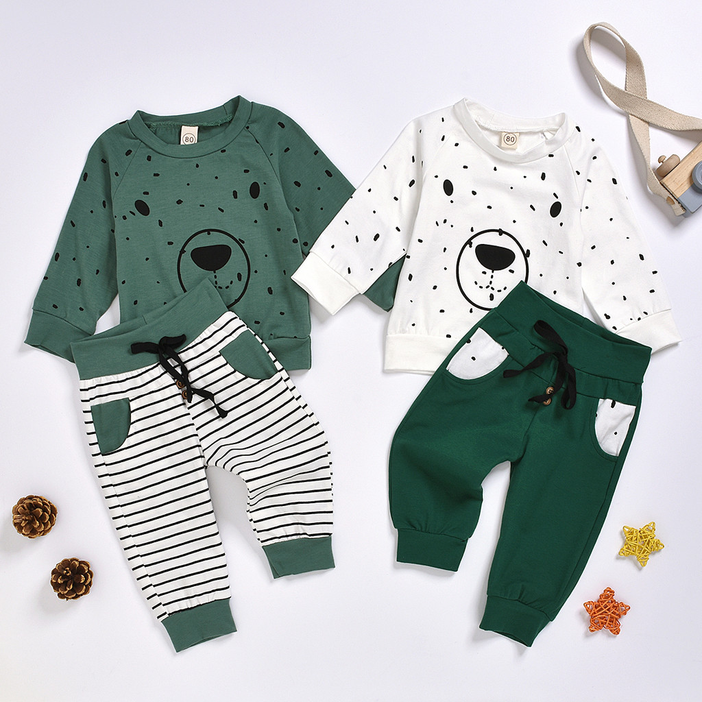 Newborn Clothes Kids Clothes Baby Boy Clothes roupa infantil Cartoon Bear Sweatshirt Tops+ Pants Outfits Set Free Ship Z4 1
