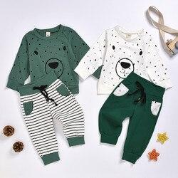 Roupa dos miúdos roupas de bebê bebê menino roupas roupa infantil dos desenhos animados urso camisola topos + calças conjunto frete grátis navio z4