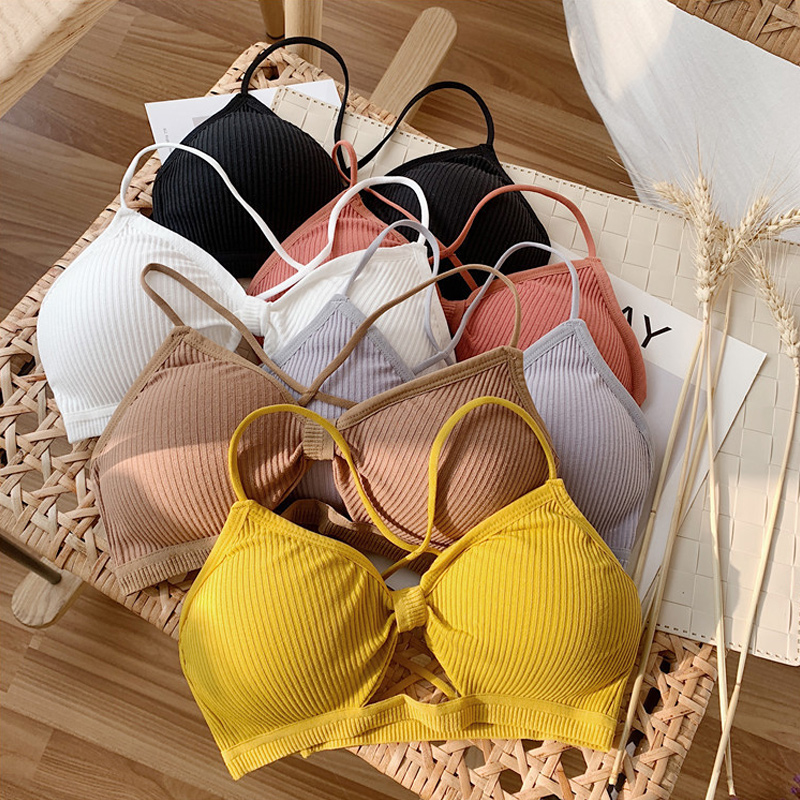 2020 Sexy Ladies Bralette Push Up Bras For Women Fitness Tops Brassiere Sold Ribbed Bralete Female Underwear Padded Lingerie