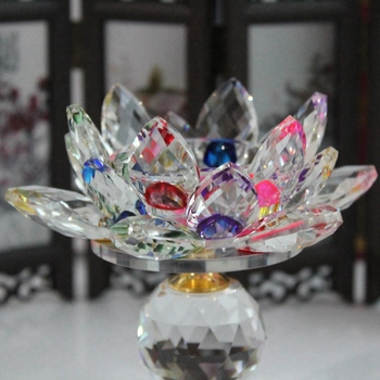 New Glass Block Lotus Flower Metal Candle Holders Feng Shui Home Decor Big Tealight Candle Stand Holder Candlesticks