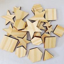 50 шт необработанные деревянные ломтики смешанного размера Шестигранные