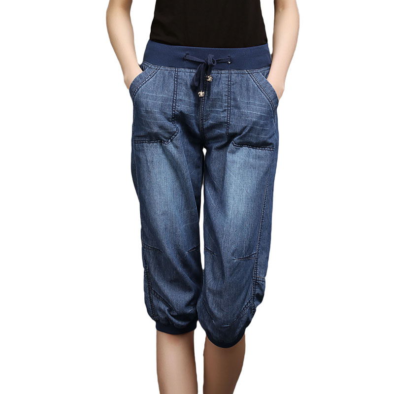 Plus Size Black Denim Jeans Woman Women's Summer Harem Pants Light Washed Loose Cotton Calf-Length Trousers Women 3XL 4XL
