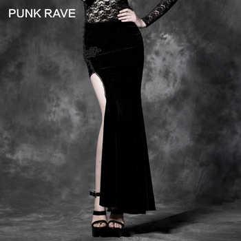 PUNK RAVE Gothic Style Sexy Split Black Asymmetric Punk Cheongsam Velvet Embroidery Long Maxi Skirt - DISCOUNT ITEM  75 OFF Women\'s Clothing
