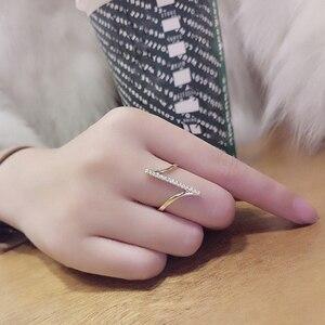 2020 moda geometryczne pierścienie dla kobiet złoty/posrebrzane palec pierścień kryształ minimalistyczny pierścień Party biżuteria prezenty anelli donna