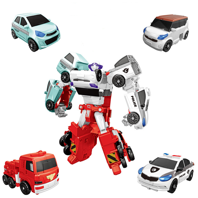 New 4 In 1 Transformation Car Robot Action Figure Toys Cartoon Character Merge Deformation Robot Model Toys Boys Gift CT0144