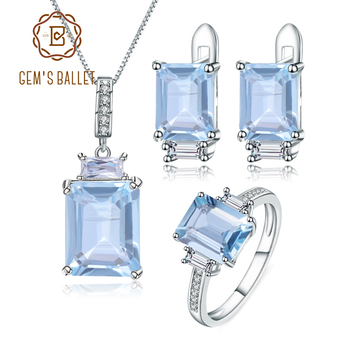 GEM'S BALLET Natural Sky Blue Topaz Ring Earrings Pendant Sets 925 Sterling Silver Classic Rectangle Gemstone Jewelry For Women