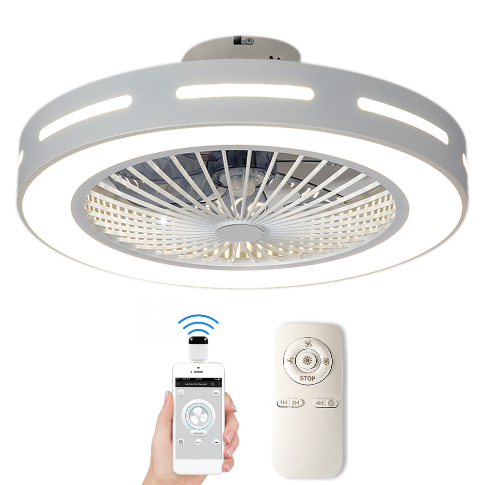 Ventilador de teto inteligente com controle remoto do telefone celular wi-fi interior decoração da casa 50-55cm com luz moderna iluminação circular