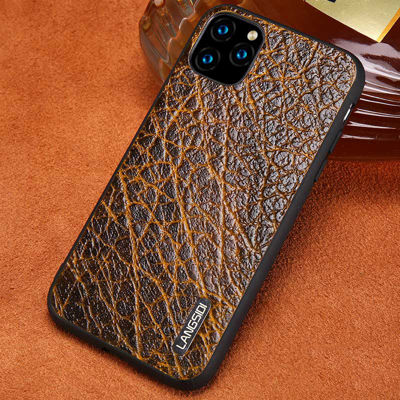 Genuine Leather Bark Grain Phone Cases For Apple IPhone 11 Pro Max X XS Max XR 7 8 6 6s 7 Plus 8 Plus 5 5S Se Retro Back Cover