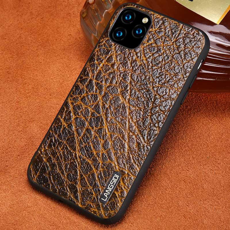 Genuine Leather Bark Grain Phone Cases For Apple IPhone 11 Pro Max X XS Max XR 7 8 6 6s 7 Plus 8 Plus 5 5S Se Retro Back Cover