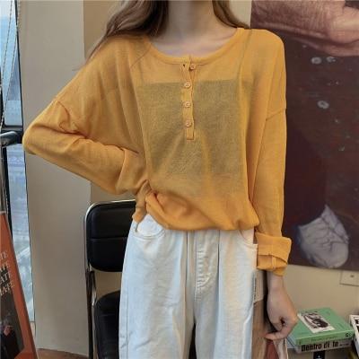 4 couleurs 2020 été style coréen ample à manches longues t-shirts femmes t-shirt femme femmes protection solaire culture hauts (L867)