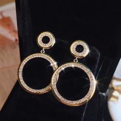 Round Drop Earrings for Women 2020 Statement Zircon Crystal Earrings Round Dangle Big Luxury Wedding Rhinestone Earring Gold