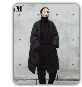 [EAM] 2019 New Winter Hooded Long Sleeve Solid Color Black Cotton-padded Warm Loose Big Size Jacket Women parkas Fashion JD12101 13