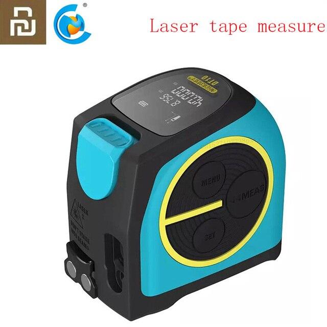 2020 Youpin Laser Tape Measure 2 in 1 Digital Optical Range Finder with LCD Digit Display Magnetic Hook Rangefinder