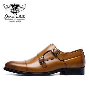 Image 3 - DESAI رجل جلد أصلي للرجال عارضة اليدوية مخصص نمط اللباس الحذاء صنع في الصين 2019