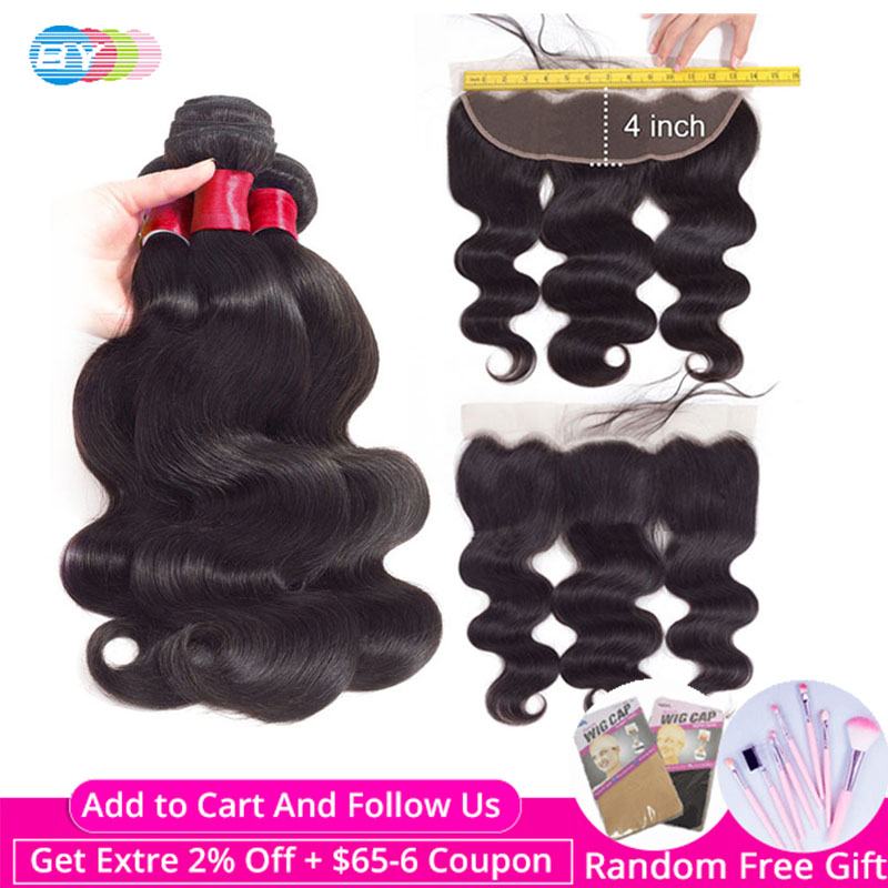 BY Body-Wave-Bundles Closure Frontal Lace Brazillian By-Hair Human Swiss 4pcs with And title=