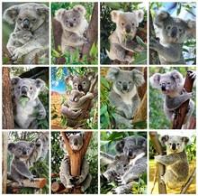 Huacan – peinture diamant thème Koala, broderie complète 5D, Art Koala, mosaïque, décorations pour la maison