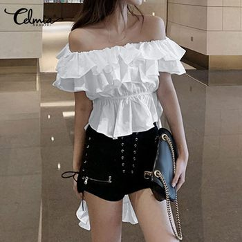 Womens Sexy Off Shoulder Long Shirt Celmia Irregular Hem Ruffled Summer Tops Casual Plus Size Loose Blouse Fashion Solid Blusas fashion summer womens blouse long lantern sleeve solid casual shirt celmia ladies cold shoulder sexy tops irregular blusas mujer