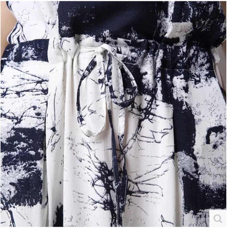Vestido de verão 2020 feminino casual plus size vestido praia longo algodão linho vestido mulher duas peças vestidos mujer kj2566