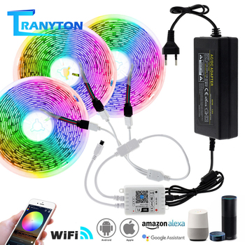 Wifi/Remote Controller LED Strip Lights 5M 10M 15M RGB 5050 SMD Flexible Ribbon Waterproof Tape Diode DC12V Strips with Adapter