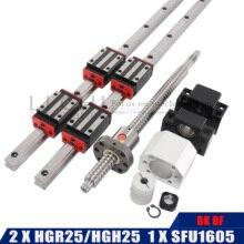 2PCS HGH25 모든 길이 + 1 세트 SFU1605 4PCS HGH25CA HGW25CC 가이드 샤프트 500 600 700 800 900 1000 1100mm 길이 광학