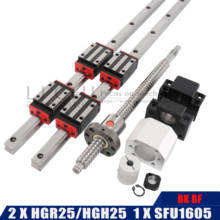 2PCS HGH25 qualsiasi lunghezza + 1 SET SFU1605 4PCS HGH25CA HGW25CC guida Lineare Dellalbero 500 600 700 800 900 1000 1100 millimetri di Lunghezza Ottico