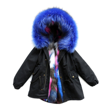 Dollplus Baby Girl Winter Clothes Hooded Fur Coats Thick Warm Girls Jackets Windproof Cotton Children's Outerwear Snow Clothes