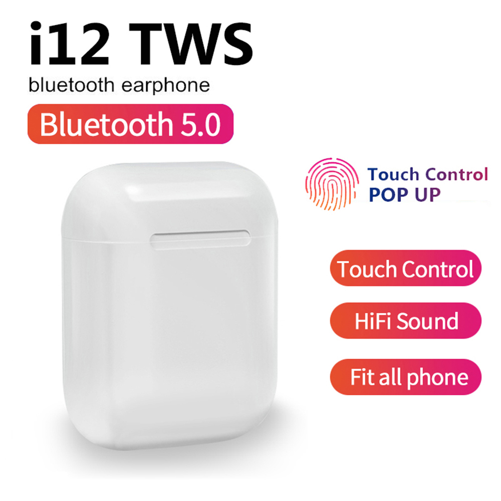 I12 TWS Bluetooth 5.0 Earphone Drop Shipping Double Calls Stereo Smart Touch Earphones For IPhone Xiaomi Sumsang Huawei VS I9s