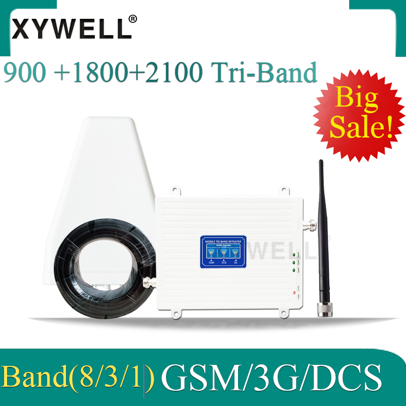 XYWELL 4G Repeater 2g 3g 4g Signal Booster GSM Tri Band 900 DCS 1800 WCDMA 2100 Cell Phone Cellular Signal Booster Amplifier