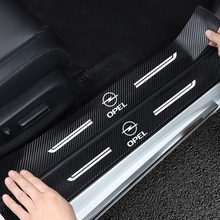 Anti-collision wear 4PCS Carbon Fiber Door Sill Protector Leather Vinyl Stickers For Opel Astra J H G K Car Accessories