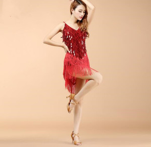 Image 4 - Wholesale Women Fringe Latin Dresses Girls Competition Tassel Dance Performance Costume Golden Cheap On Sale
