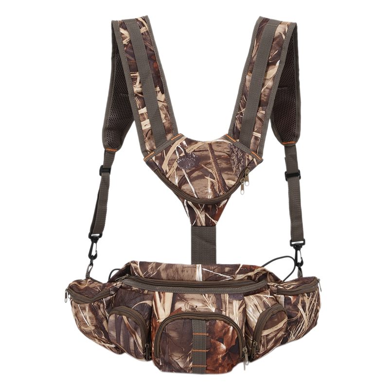 Hunting Camo Fanny Pack With Harness Waist Pack Pouch With Shoulder Straps For Climbing Hiking Camping Running Travelling