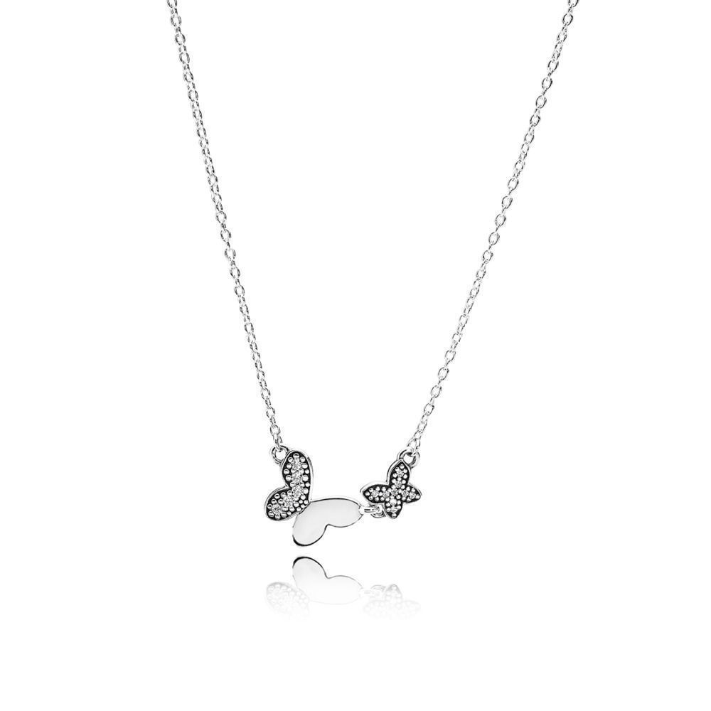 Baofu New 925 Sterling Silver Necklace Shiny Butterfly Flying Necklace Gifts Fine Jewelry For Original Women