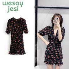 Dress Women summer elegant style vestidos Chiffon V-neck floral mini A-line vestidos de fiesta de noche chic party dress floral boho dress a line v neck sexy spaghetti strap mini dress vestidos de fiesta ruffle hem floral dress sukienki vestidos
