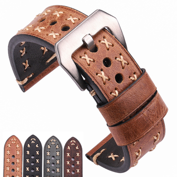 Handmade Watchbands 22 24mm Italian Leather Vintage Watch Band Strap Women Men Brown Black Green Coffee Watch Accessories