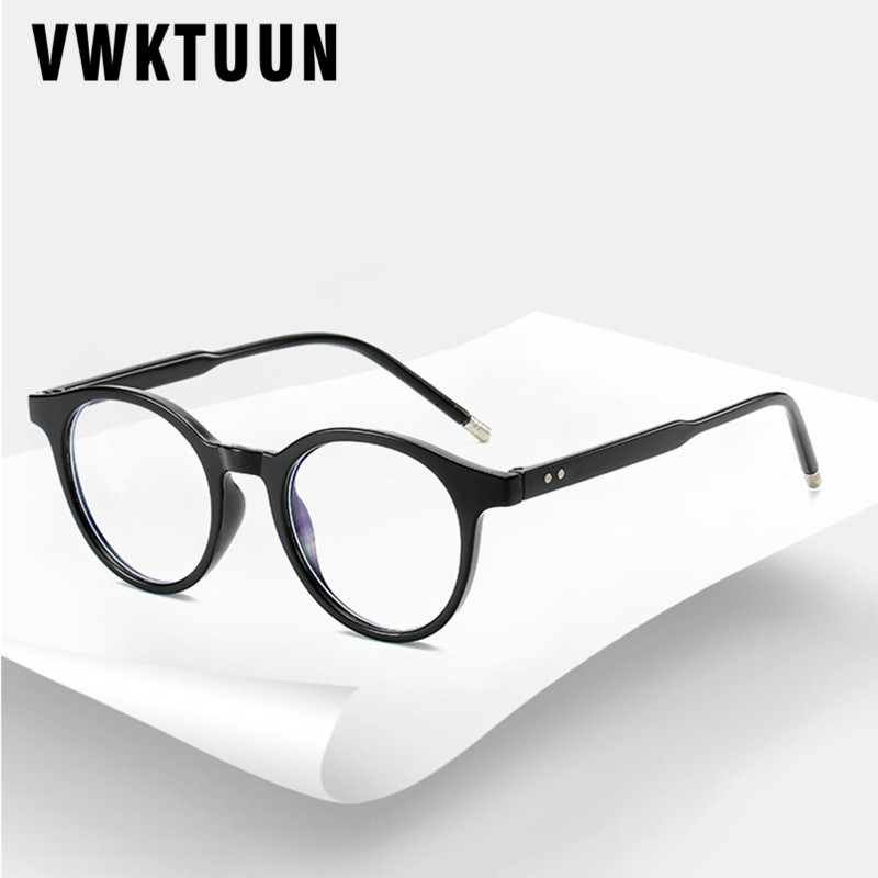 VWKTUUN Round Glasses Frame Men Women Anti Blue Light Eye Glasses Frames Rivet Myopia Computer Glasses Male Female Clear Glasses