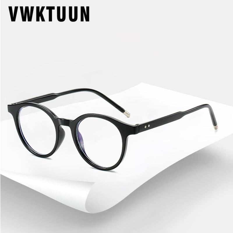VWKTUUN Round Glasses Frame Men Women Anti Blue Light Eye Glasses Frames Rivet Myopia Computer Glasses Male Female Clear Glasses